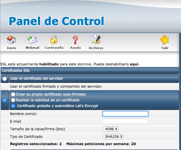 Seleciona el tipo de certificado Let's Encrypt